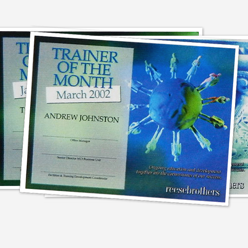 Reese Brothers Trainer Certificates