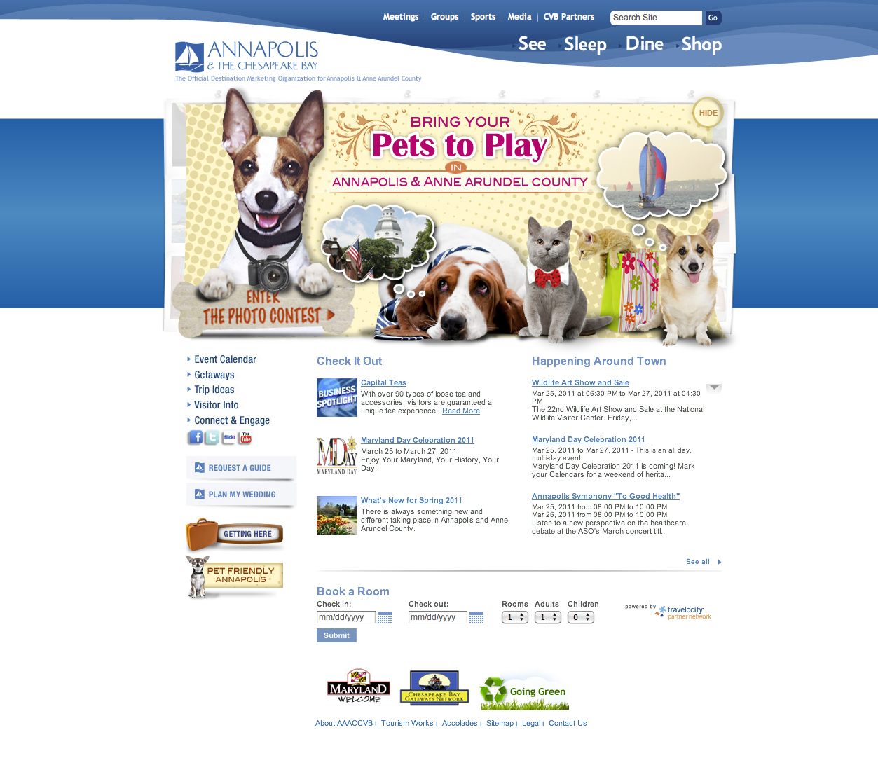 Annapolis Tourism Website - Pet Friendly Campaign