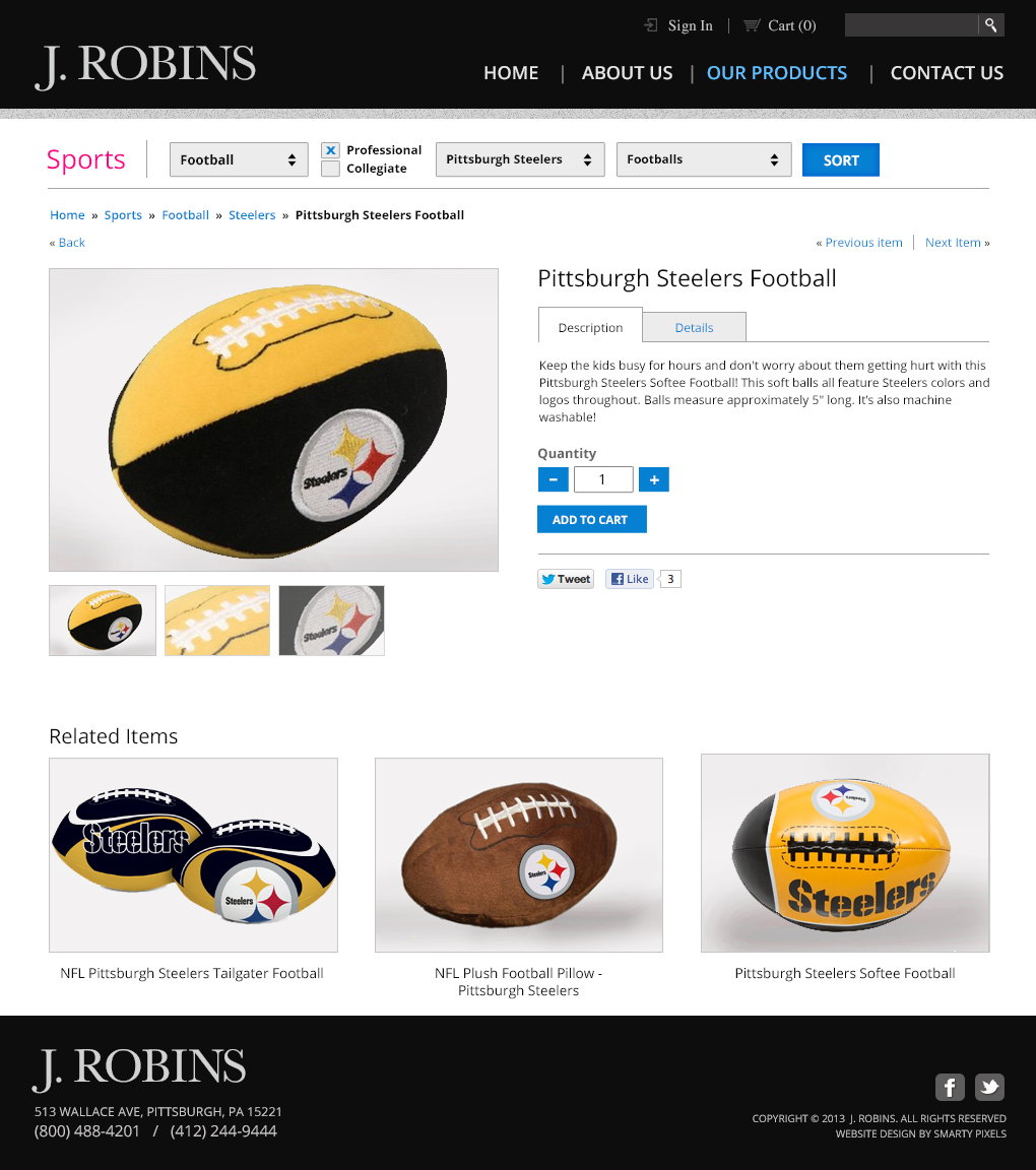 J. Robins - Product Detail Page