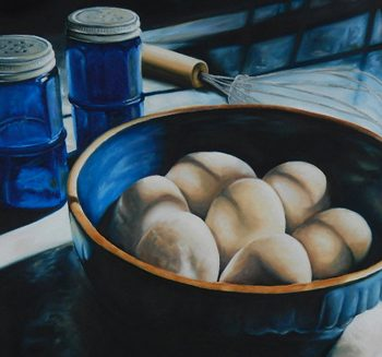 "Morning Scramble, 24"" x 24"" Oil on Canvas"