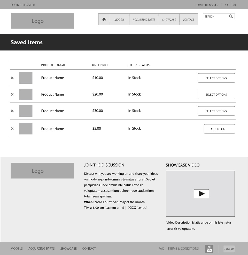 Before After Saved Items Wireframe