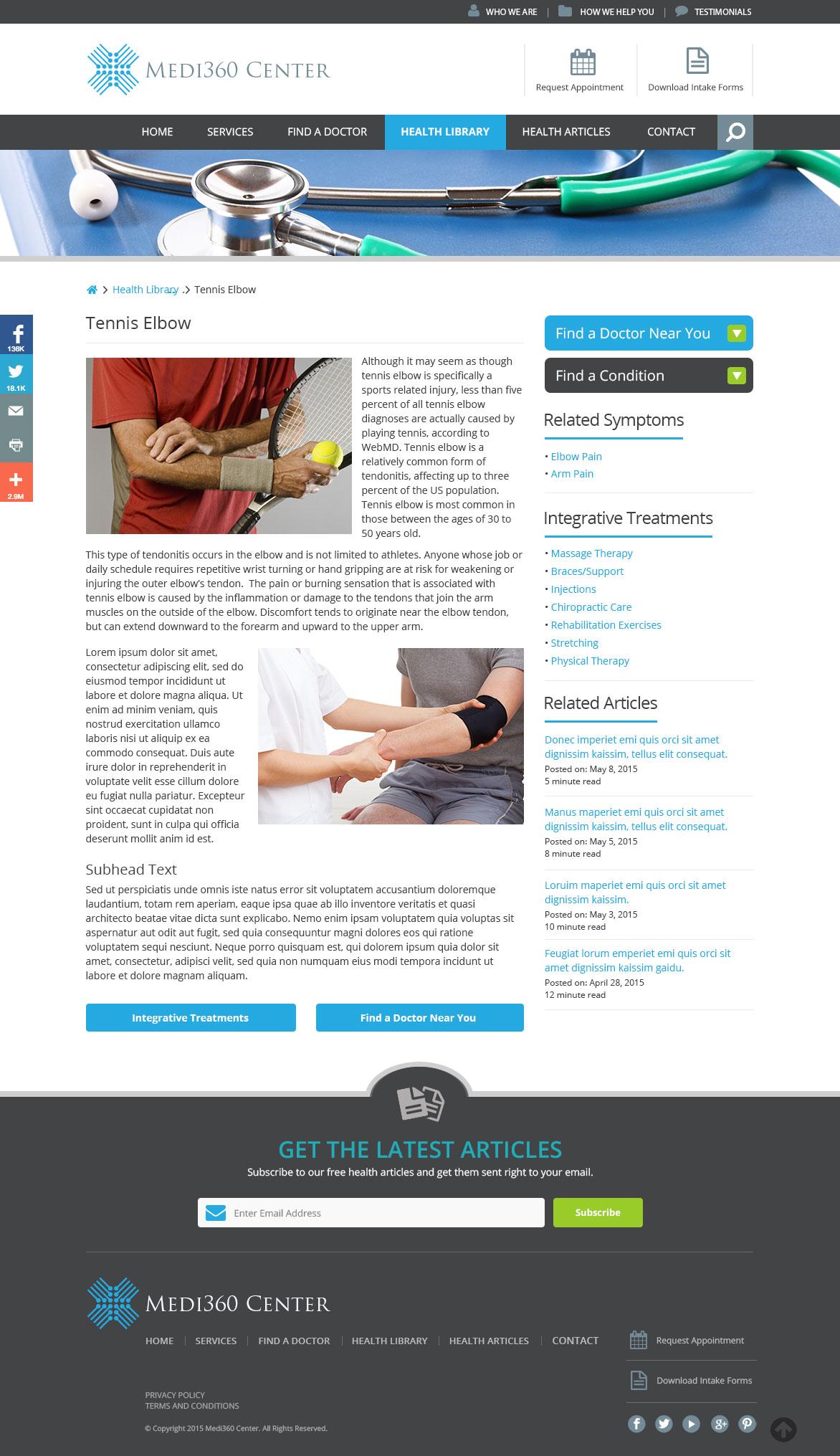 Medi360 Center Condition page