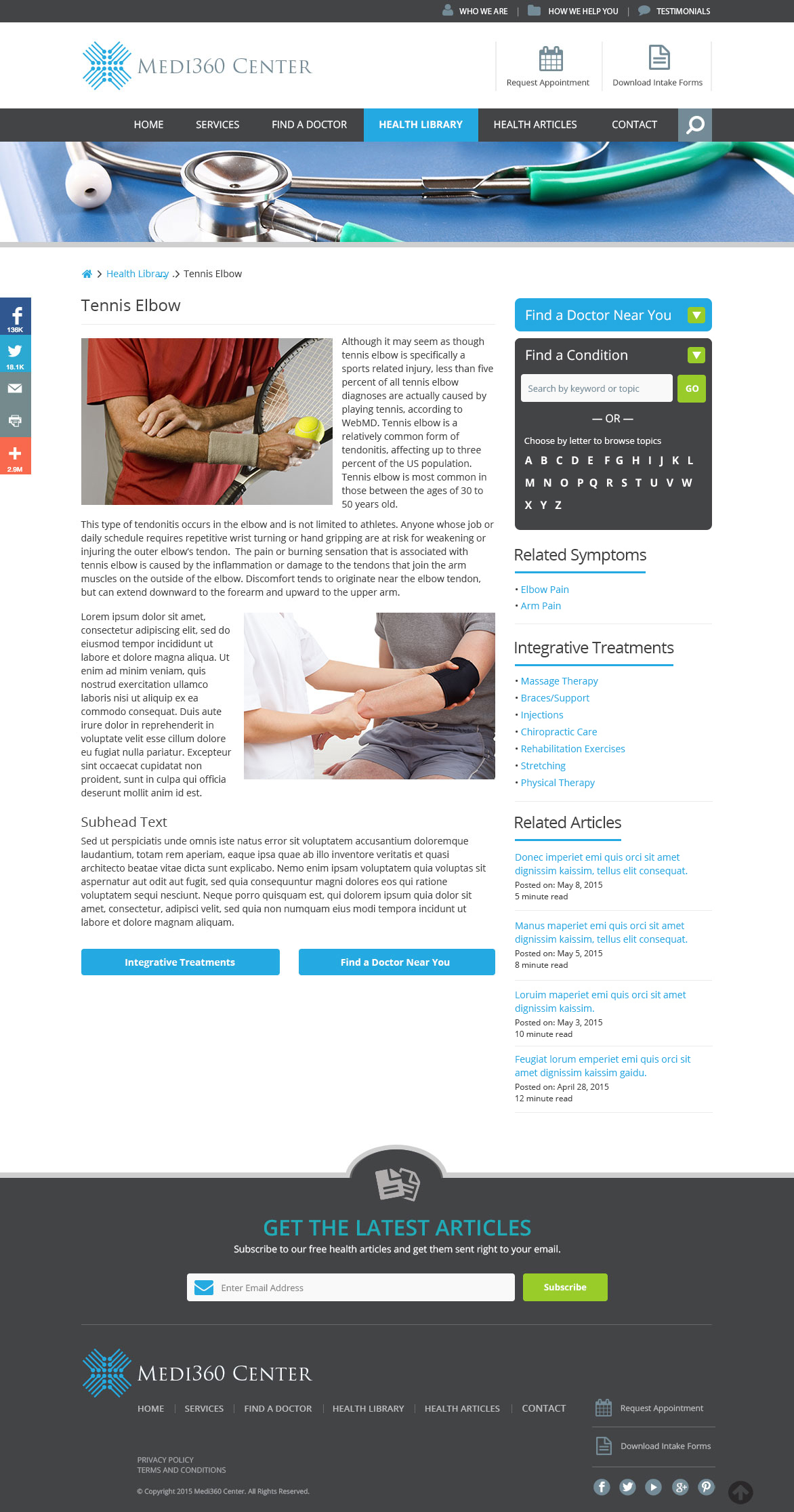 Medi360 Center Condition page