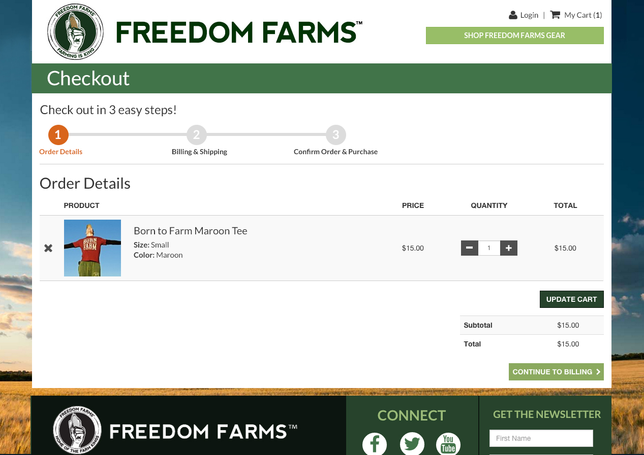 Freedom Farms E-commerce Checkout
