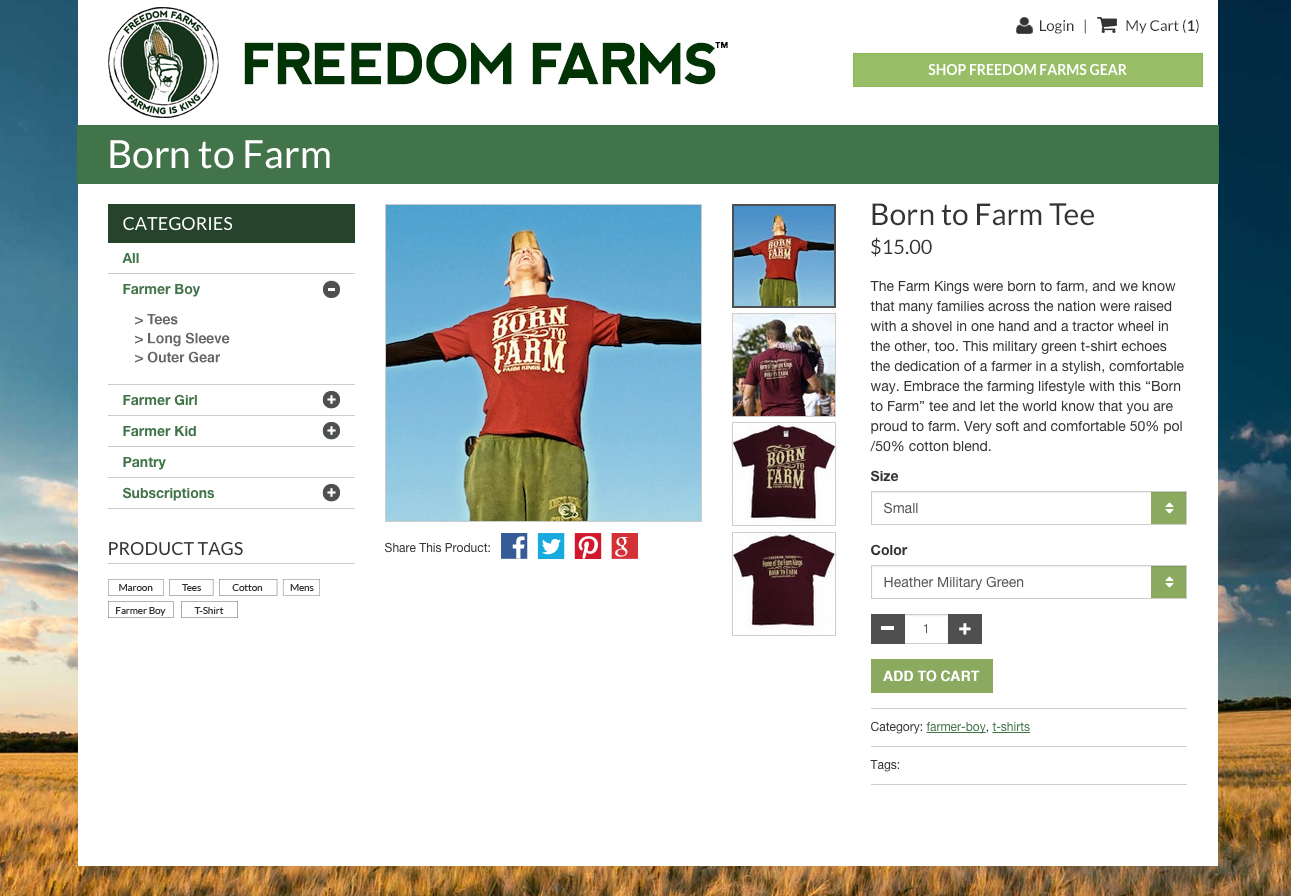 Freedom Farms E-commerce Product Detail