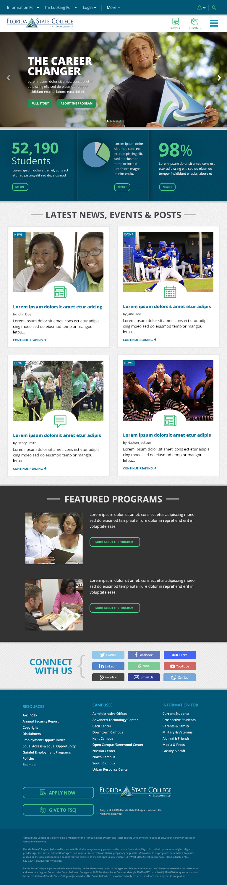 Florida State College Website – Tablet